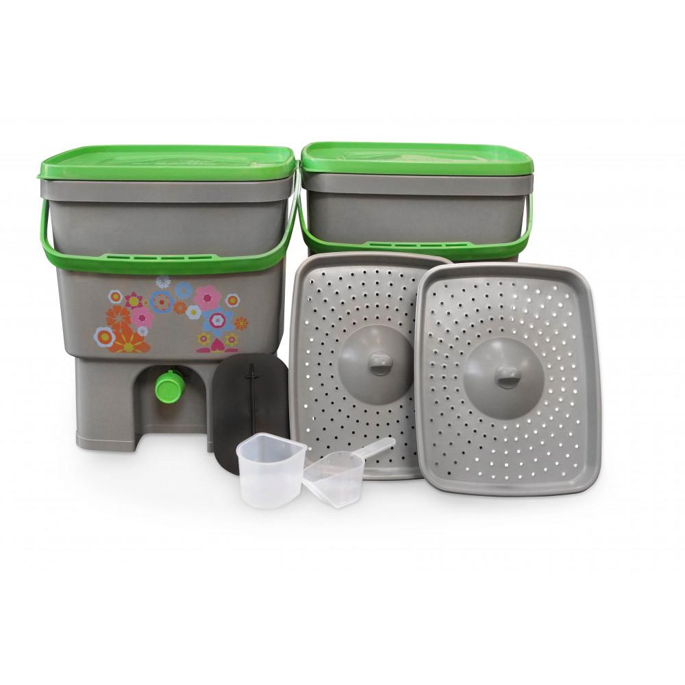 Organico kbelík pro Bokashi kompost šedá/zelená 16 litr 2 ks + Bio Bokashi sušené pro kompostéry 600 g