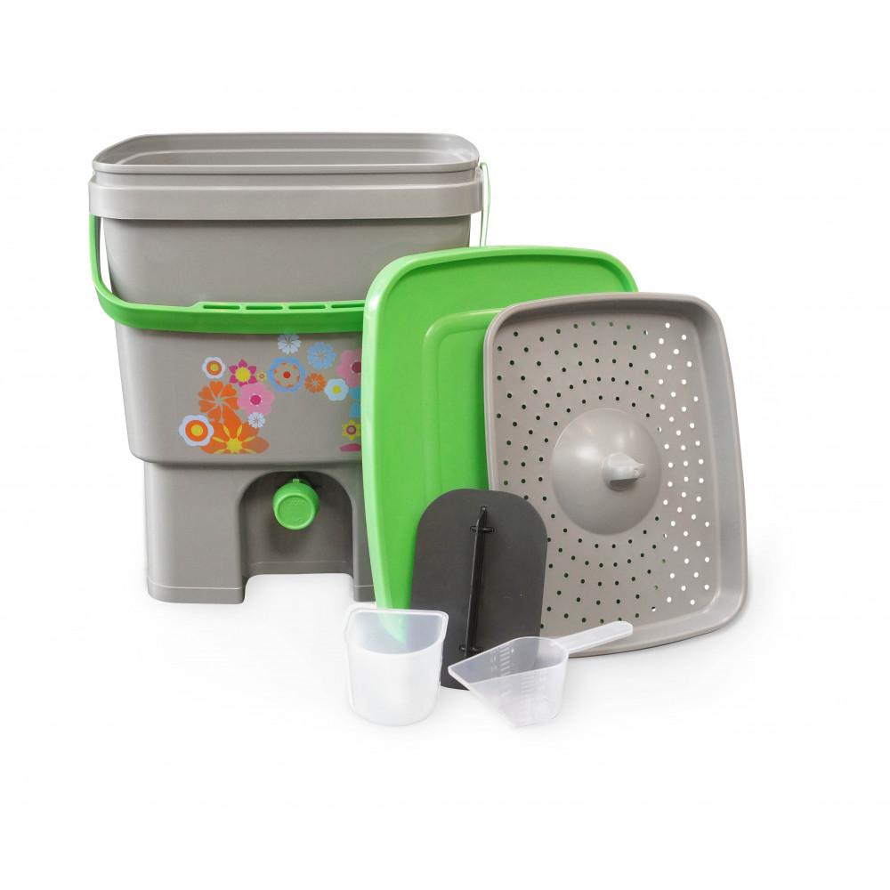 Organico kbelík pro Bokashi kompost šedá/zelená 16 litr + Bio Bokashi sušené pro kompostéry 600 g